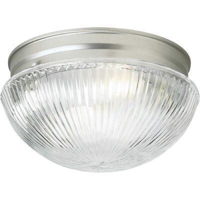 1-Light Flush Mount - Ribbed Glass Size: 9.75 H x 5.5 W
