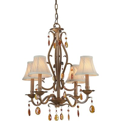 4 Light Chandelier with Fabric Shade