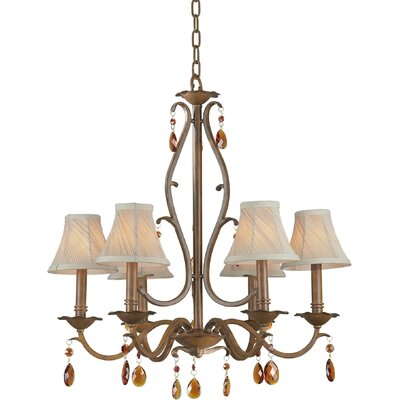 6 Light Chandelier with Fabric Shade