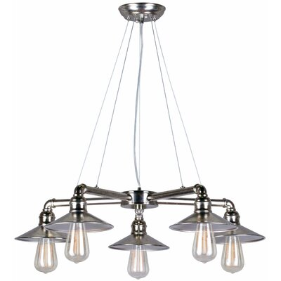 Mcquiston 5-Light Shaded Chandelier Finish: Vintage Chrome