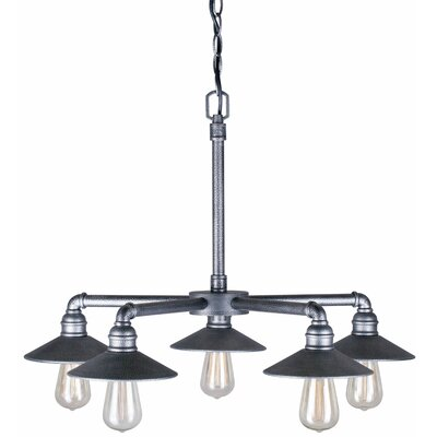 5-Light Shaded Chandelier Finish: Industrial Gray