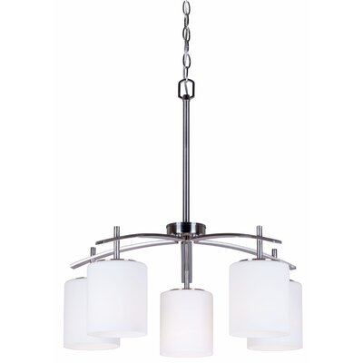 5-Light Shaded Chandelier Finish: Brushed Nickel