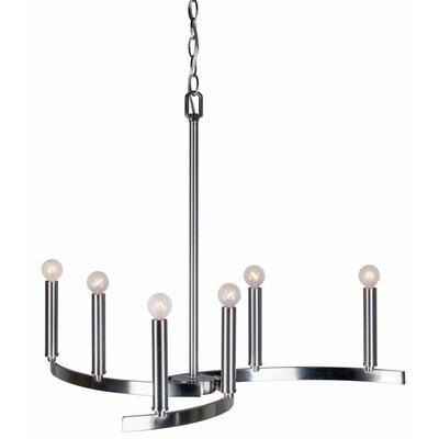 Mcspadden 6-Light Candle-Style Chandelier Finish: Brushed Nickel