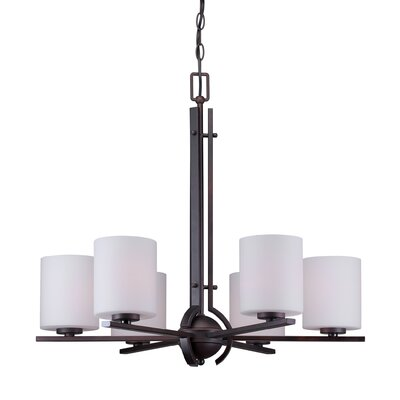 Burkley 6-Light Shaded Chandelier Finish: Antique Bronze