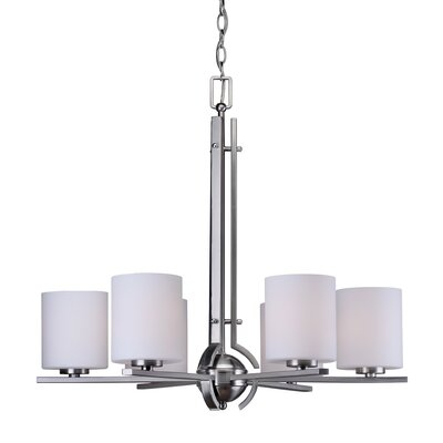 Burkley 6-Light Shaded Chandelier Finish: Brushed Nickel