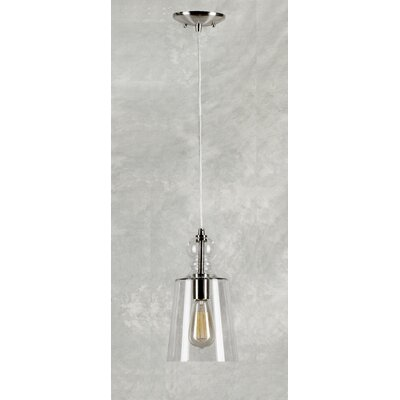Du Bois Cord-Hung 1-Light Mini Pendant in Brushed Nickel