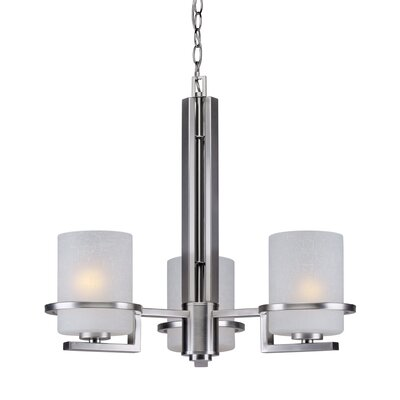 3-Light Shaded Chandelier Finish: Brushed Nickel, Shade Color: White Linen