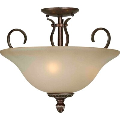 Blakeley 3-Light Semi Flush Mount Finish: Black Cherry / Umber