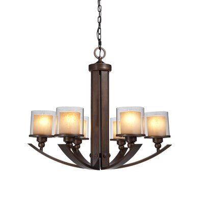 Sierra 6-Light Candle-Style Chandelier Shade Color: Clear