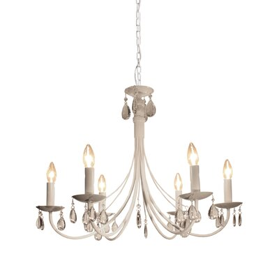Terramo 6-Light Candle-Style Chandelier Finish: White