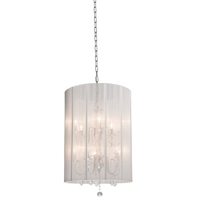 Claremont 10-Light Drum Chandelier Shade Color: White