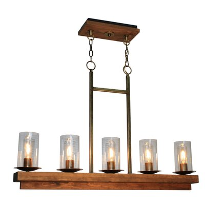 Legno Rustico 5-Light Kitchen Island Pendant Finish: Burnished Brass
