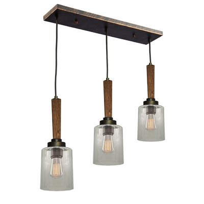 Legno Rustico 3-Light Cascade Pendant Finish: Burnished Brass