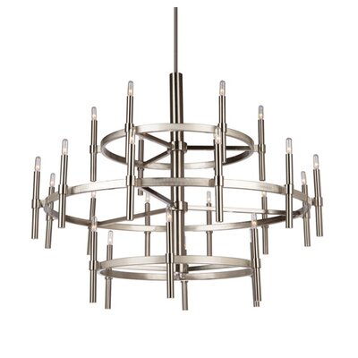 Bushong 24-Light Candle-Style Chandelier Finish: Polished Nickel
