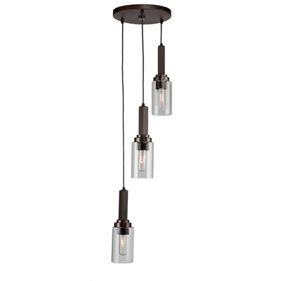 Home Glow 3-Light Cascade Pendant Finish: Dark Wood