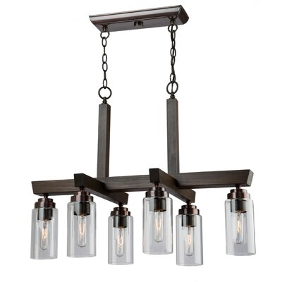 Home Glow 6-Light Kitchen Island Pendant Finish: Distressed Wood