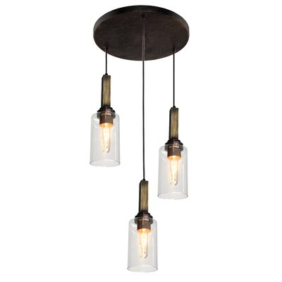 Home Glow 3-Light Cascade Pendant Finish: Distressed Wood