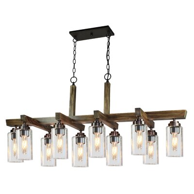 Home Glow 10-Light Kitchen Island Pendant Finish: Dark Wood