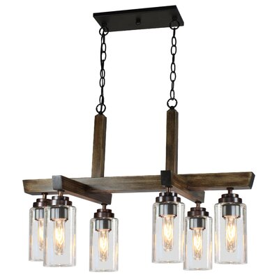 Home Glow 6-Light Kitchen Island Pendant Finish: Dark Wood
