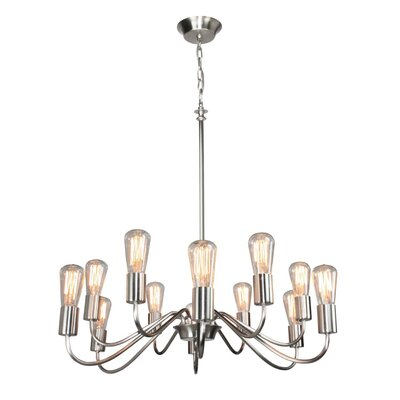 Anca 12-Light Candle-Style Chandelier Finish: Brushed Nickel