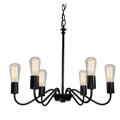 Vintage 6-Light Candle-Style Chandelier Finish: Black