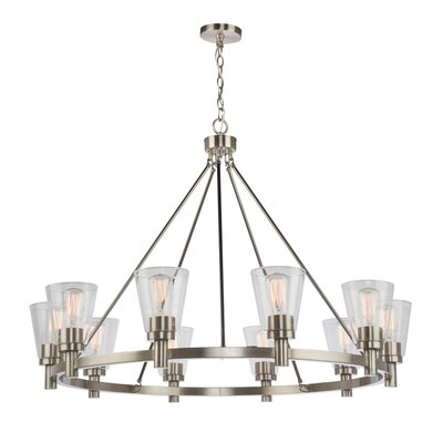 Jina 10-Light Shaded Chandelier Finish: Brushed Nickel