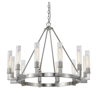 Viswa 12-Light Candle-Style Chandelier Finish: Brushed Nickel