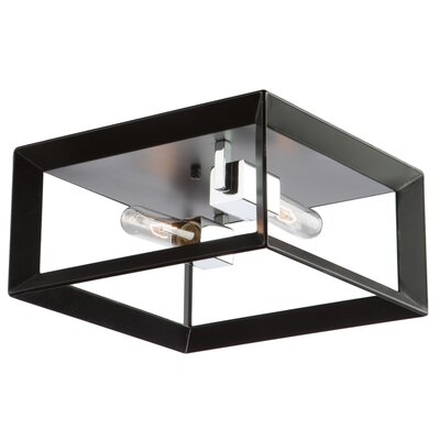 Vineyard 2-Light Flush Mount Finish: Black/Chrome