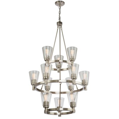 Jina 12-Light Candle-Style Chandelier Finish: Brushed Nickel
