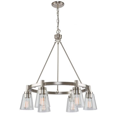 Jina Modern 6-Light Shaded Chandelier Finish: Brushed Nickel