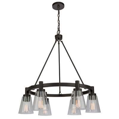 Jina Modern 6-Light Shaded Chandelier Finish: Oil Rubbed Bronze