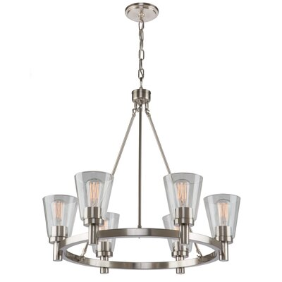 Jina 6-Light Shaded Chandelier Finish: Brushed Nickel