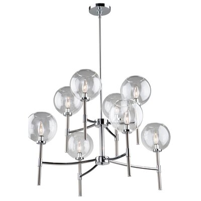 Nik 8-Light Shaded Chandelier Finish: Chrome/Brushed Nickel