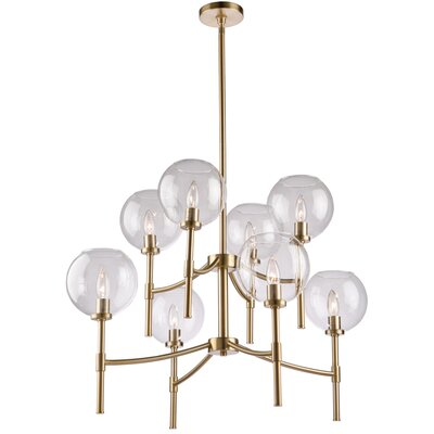 Nik 8-Light Shaded Chandelier Finish: Satin Brass