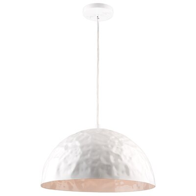 Metal 1-Light Inverted Pendant Finish: Glossy White