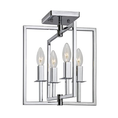 Camillea 4-Light Semi Flush Mount Fixture Finish: Chrome
