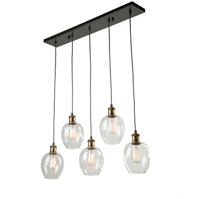 Clearwater 5-Light Kitchen Island Pendant Shade Color: Polished Nickel