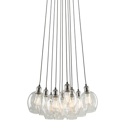 Clearwater 11-Light Cluster Pendant Shade Color: Vintage Brass