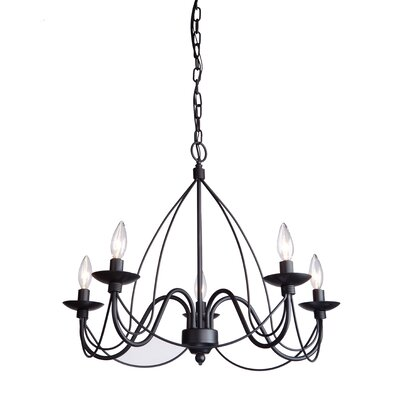 Randon 5-Light Candle-Style Chandelier Finish: Black