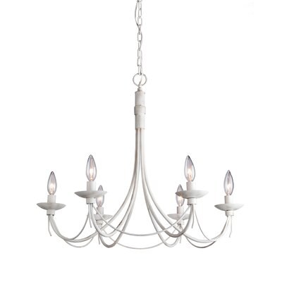 Wrought Iron 6-Light Candle-Style Chandelier Finish: Antique White