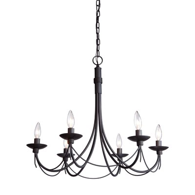 Randon 6-Light Candle-Style Chandelier Finish: Black