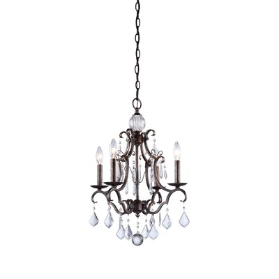 Vintage 4-Light Candle-Style Chandelier Finish: Dark Brown