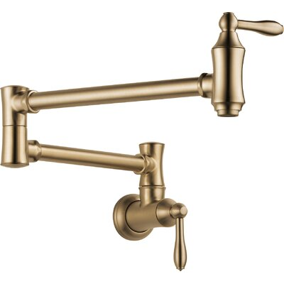 Cassidy Traditional Double Handle Wall Mount Pot Filler Faucet Finish: Brilliance Champagne Bronze