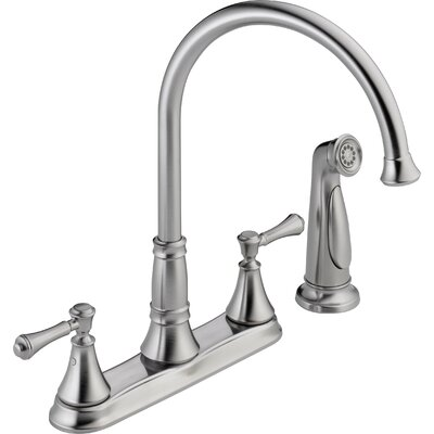 Cassidy Double Handle Deck Mounted Kitchen Faucet with Spray Finish: Arctic Stainless