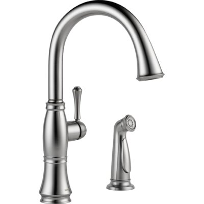 Cassidy Single Handle Kitchen Faucet with Side Spray Finish: Arctic Stainless
