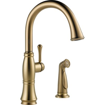 Cassidy Single Handle Kitchen Faucet with Side Spray Finish: Brilliance Champagne Bronze