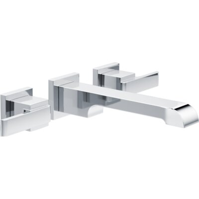 Ara Two Handle Wall-Mount Lavatory Faucet Finish: Chrome