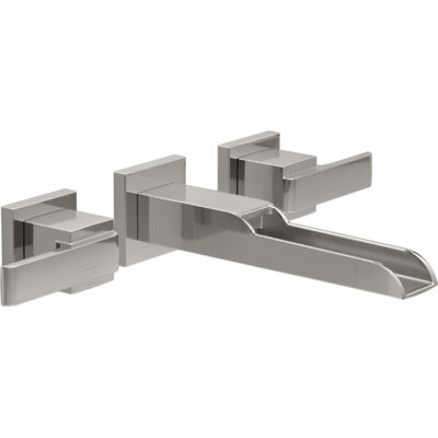 Ara Two Handle Wall-Mount Lavatory Faucet with Channel Spout Finish: Brilliance Stainless