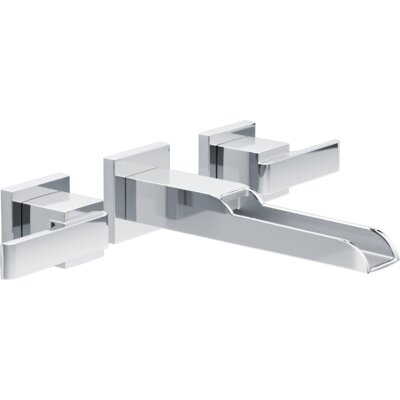 Ara Two Handle Wall-Mount Lavatory Faucet with Channel Spout Finish: Chrome