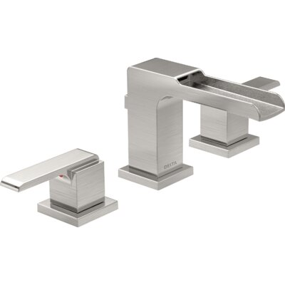 Ara Two Handle Widespread Lavatory Faucet with Channel Spout and Pop-Up Drain